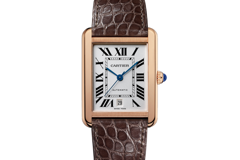 Cartier Tank Solo - Rose Gold on Brown Leather - Silver Dial