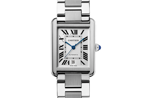 Cartier Tank Solo - Stainless Steel on Bracelet - Silver Dial