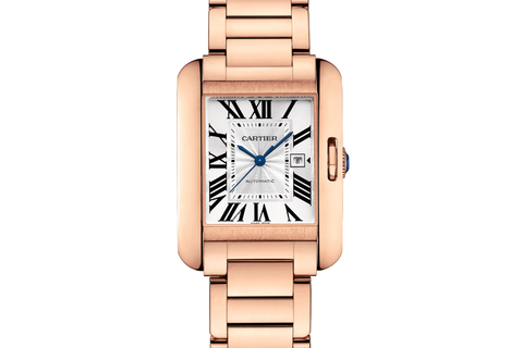 Cartier Tank Anglaise L - Rose Gold on Bracelet - Silver Dial