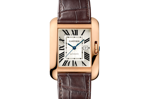 Cartier Tank Anglaise L - Rose Gold on Brown Leather - Silver Dial