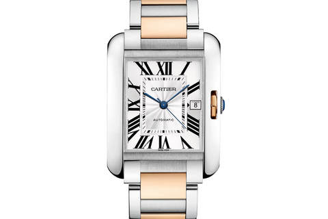 Cartier Tank Anglaise XL - Stainless Steel & Rose Gold on Bracelet - Silver Dial