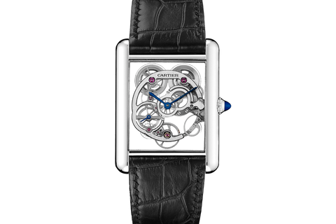 Cartier Tank Louis Cartier XL Skeleton Sapphire - White Gold on Black Leather - Skeleton Dial