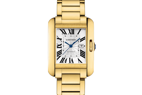 Cartier Tank Anglaise L - Yellow Gold on Bracelet - Silver Dial