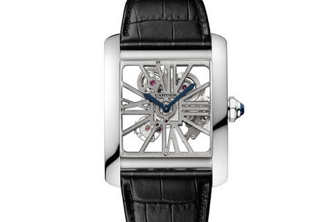 Cartier Tank MC Skeleton - Palladium on Black Leather - Skeleton Dial