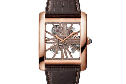 Cartier Tank MC Skeleton - Rose Gold on Brown Leather - Skeleton Dial