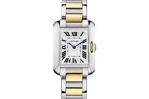 Cartier Tank Anglaise S - Stainless Steel & Yellow Gold on Bracelet - Silver Dial