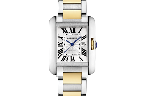 Cartier Tank Anglaise L - Stainless Steel & Yellow Gold on Bracelet - Silver Dial