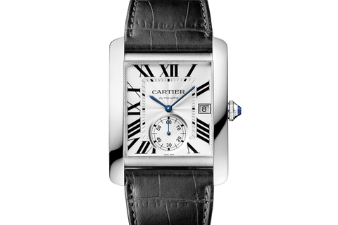 Cartier Tank MC - Stainless Steel on Black Leather - Silver Dial
