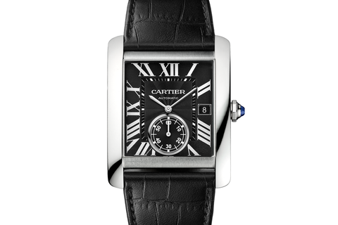 Cartier Tank MC - Stainless Steel on Black Leather - Black Dial