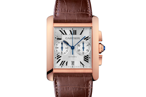Cartier Tank MC - Rose Gold on Brown Leather - Silver Dial