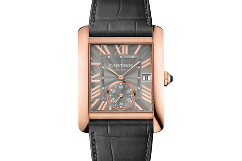Cartier Tank MC - Rose Gold on Dark Grey Leather - Grey Dial