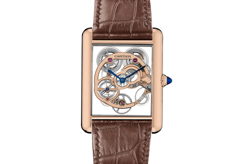 Cartier Tank Louis Cartier XL Skeleton Sapphire - Rose Gold on Brown Leather - Skeleton Dial