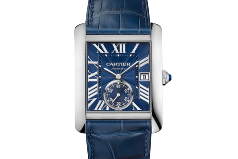 Cartier Tank MC - Stainless Steel on Blue Leather - Blue Dial
