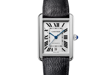 Cartier Tank Solo - Stainless Steel on Black Leather - Silver Dial