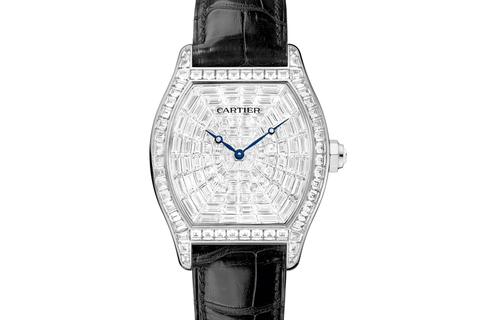 Cartier Tortue XL - White Gold on Black Leather - Diamond Dial