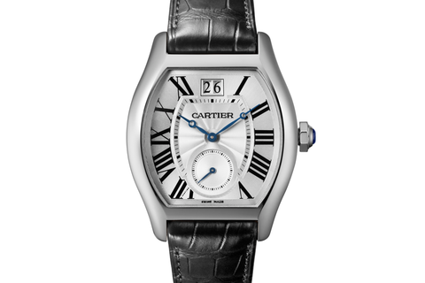 Cartier Tortue XL - White Gold on Black Leather - Silver Dial