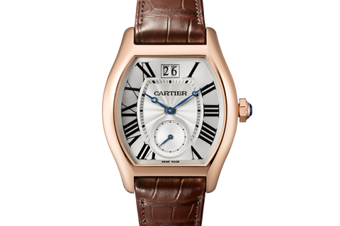 Cartier Tortue XL - Rose Gold on Brown Leather - Silver Dial
