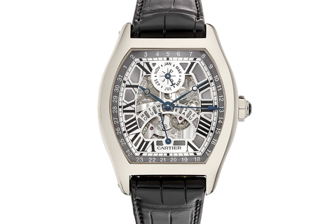 Cartier Tortue XXL Perpetual Calendar - White Gold on Black Leather - Skeleton Dial