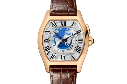 Cartier Tortue XXL - Rose Gold on Brown Leather - Silver Dial