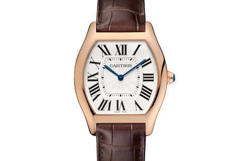 Cartier Tortue - Rose Gold on Brown Leather - Silver Dial