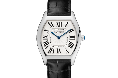 Cartier Tortue - White Gold on Black Leather - Silver Dial