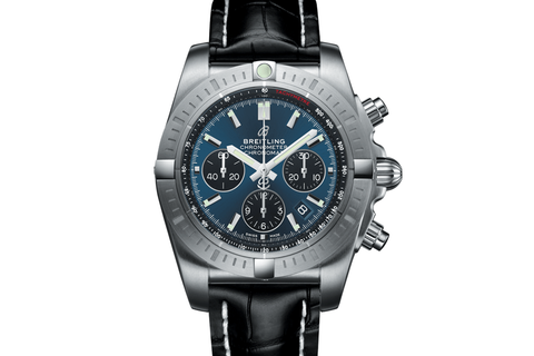 Breitling Avenger II Chronograph on Blue Rubber Strap - Blue & White Dial