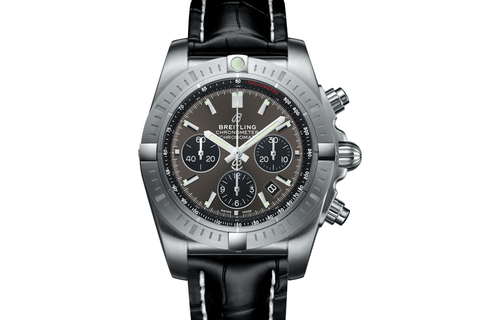 Breitling Chronomat B01 Chronograph 44 - Stainless Steel on Black Leather - Blackeye Grey Dial