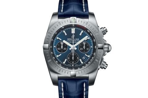 Breitling Chronomat B01 Chronograph 44 - Stainless Steel on Blue Leather - Blackeye Blue Dial