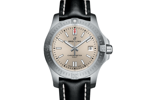 Breitling Chronomat Colt Automatic 44 - Stainless Steel on Black Leather - Silver Dial
