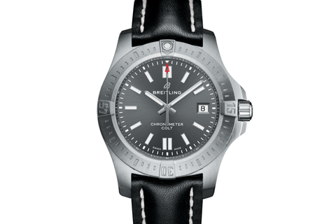 Breitling Chronomat Colt Automatic 44 - Stainless Steel on Black Leather - Tempest Grey Dial