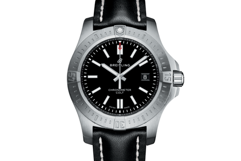 Breitling Chronomat Colt Automatic 44 - Stainless Steel on Black Leather - Volcano Black Dial
