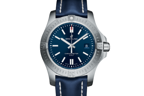 Breitling Chronomat Colt Automatic 44 - Stainless Steel on Blue Leather - Blue Dial