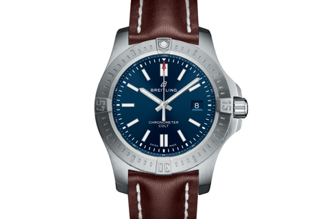 Breitling Chronomat Colt Automatic 44 - Stainless Steel on Brown Leather - Blue Dial