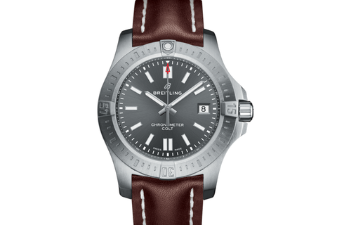 Breitling Chronomat Colt Automatic 44 - Stainless Steel on Brown Leather - Tempest Grey Dial