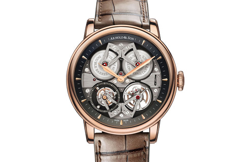 Arnold & Son TES Tourbillon - 18k Rose Gold on Brown Leather - Grey Dial