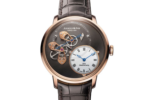 Arnold & Son DSTB - 18k Rose Gold on Brown Leather - Gray Skeleton Dial