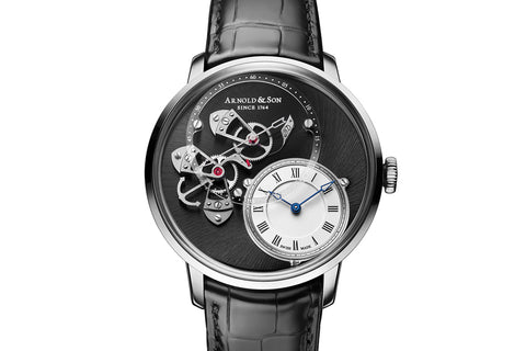 Arnold & Son CTB - Stainless Steel on Black Leather - Grey Dial