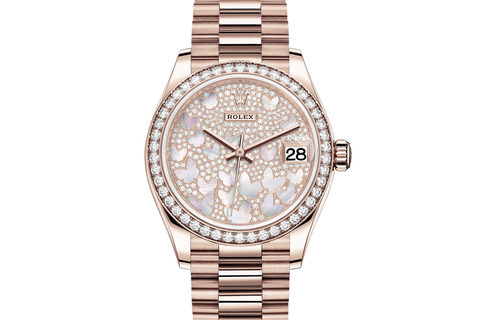 Rolex Datejust 31 18k Rose Gold Diamond Bezel on Jubilee Bracelet - Pearl & Diamond Butterfly Dial