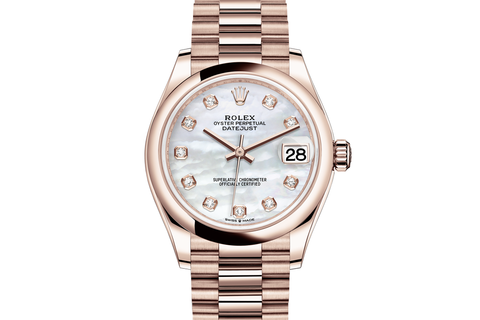 Rolex Datejust 31 18k Rose Gold Smooth Bezel on Oyster Bracelet - Pearl Diamond Dial