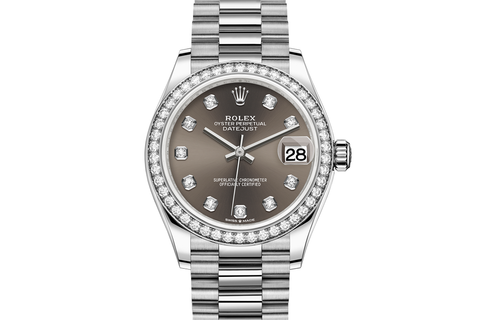 Rolex Datejust 31 18k White Gold Diamond Bezel on Jubilee Bracelet - Dark Grey Diamond Dial