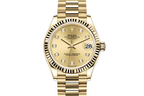 Rolex Datejust 31 18k Yellow Gold Fluted Bezel on Jubilee Bracelet - Gold Diamond Dial