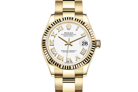 Rolex Datejust 31 18k Yellow Gold Fluted Bezel on Oyster Bracelet - White Roman Dial