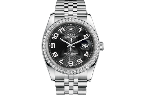 Rolex Datejust 36 Stainless Steel Diamond Bezel on Jubilee Bracelet - Black Dial
