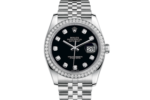 Rolex Datejust 36 Stainless Steel Diamond Bezel on Jubilee Bracelet - Black Diamond Dial