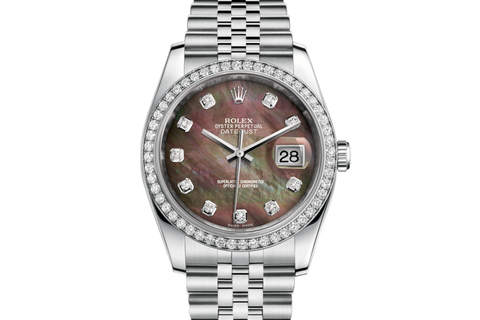 Rolex Datejust 36 Stainless Steel Diamond Bezel on Jubilee Bracelet - Black Pearl Diamond Dial