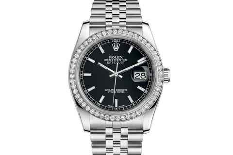 Rolex Datejust 36 Stainless Steel Diamond Bezel on Jubilee Bracelet - Black Stick Dial