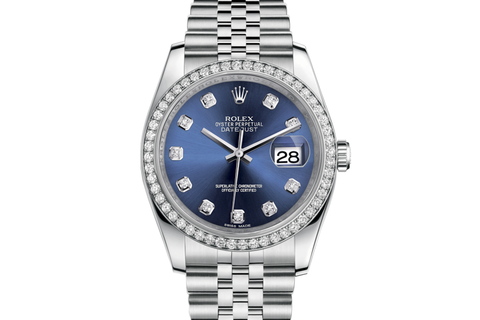 Rolex Datejust 36 Stainless Steel Diamond Bezel on Jubilee Bracelet - Blue Diamond Dial