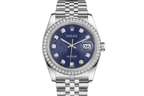 Rolex Datejust 36 Stainless Steel Diamond Bezel on Jubilee Bracelet - Blue Jubilee Diamond Dial