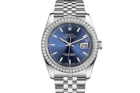 Rolex Datejust 36 Stainless Steel Diamond Bezel on Jubilee Bracelet - Blue Stick Dial
