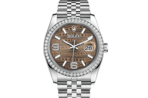 Rolex Datejust 36 Stainless Steel Diamond Bezel on Jubilee Bracelet - Brown Wave Diamond Dial